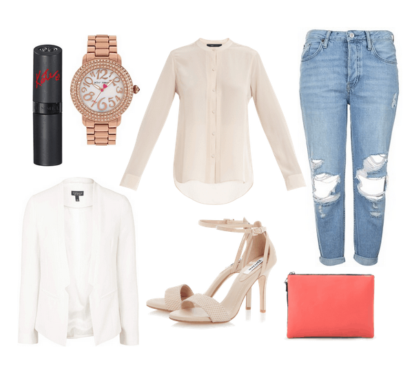 silky blouse and boyfriend jeans