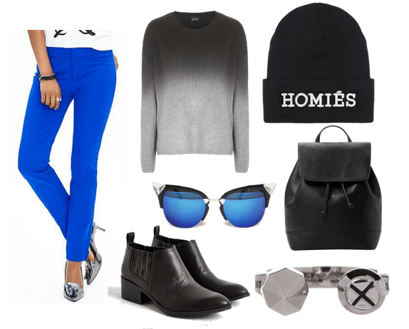 cobalt pants and ombre sweater
