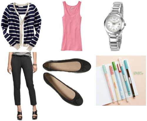 College advisor meeting outfit: Jeans, tank, cardigan, ballet flats, watch