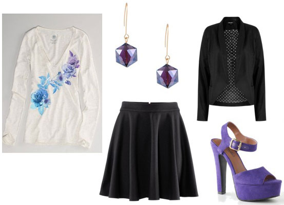 How to wear an American Eagle sequin floral tee with a black circle skirt, heels and blazer