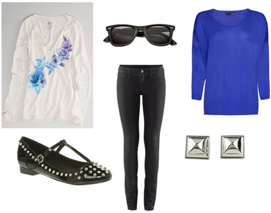 How to wear an American Eagle sequin floral tee with a blue sweater, black skinnies and studded flats