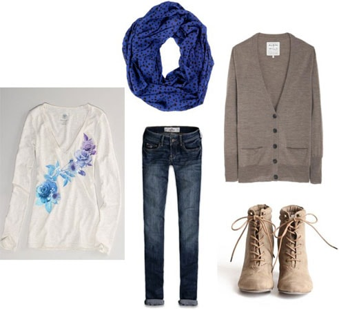 How to wear an American Eagle sequin floral tee with a grey cardigan, basic jeans, a scarf and desert boots