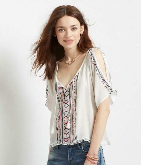 Aero cold shoulder peasant top