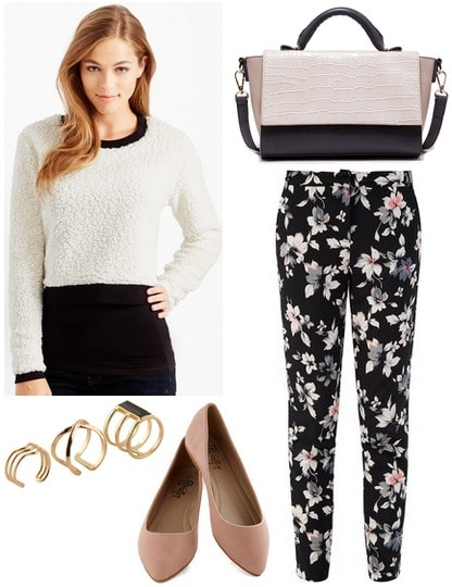 Aero cropped sweater, floral print pants, flats