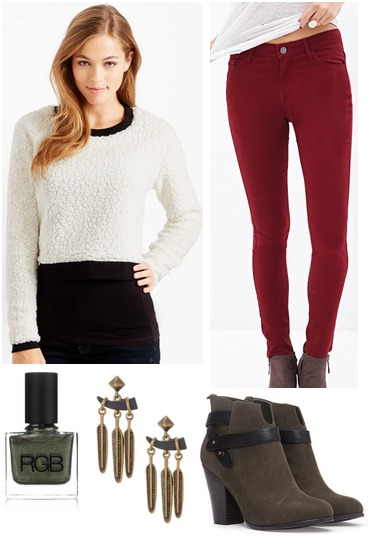 Aero cropped sweater, red jeans, ankle boots
