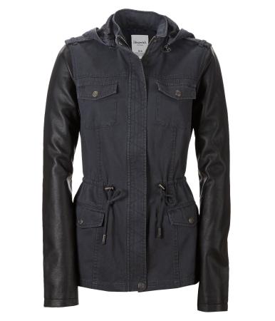 Aeropostale faux leather sleeve anorak jacket