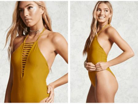Mustard halter onepiece swimsuit
