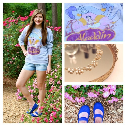 Aladdin sweatshirt denim shorts blue flats statement neckalce