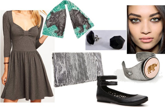 "Fashion inspired by Art: Albrecht Durer's ""Rhinoceros"" - Outfit 2: skater dress, clutch, flats"