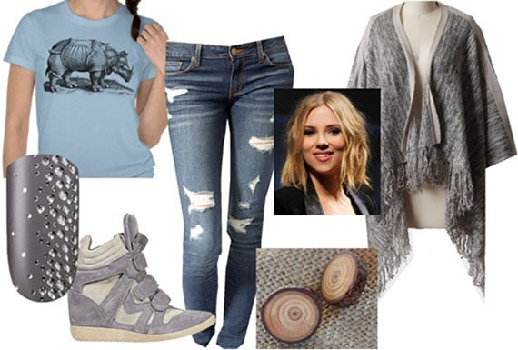 "Fashion inspired by Art: Albrecht Durer's ""Rhinoceros"" - Outfit 3: Ripped jeans, tee, cardigan, sneaker wedges"