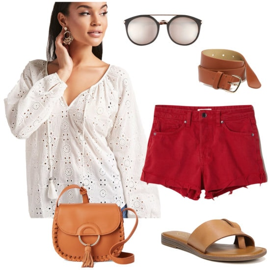 Alessandra Ambrosio Outfit: white eyelet blouse, black and gold brow bar sunglasses, red denim shorts, a brown belt, brown tassel crossbody bag, and flat brown slide sandals
