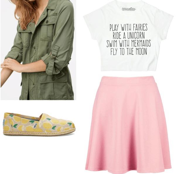 field jacket fun t-shirt pink skirt lemon espadrilles