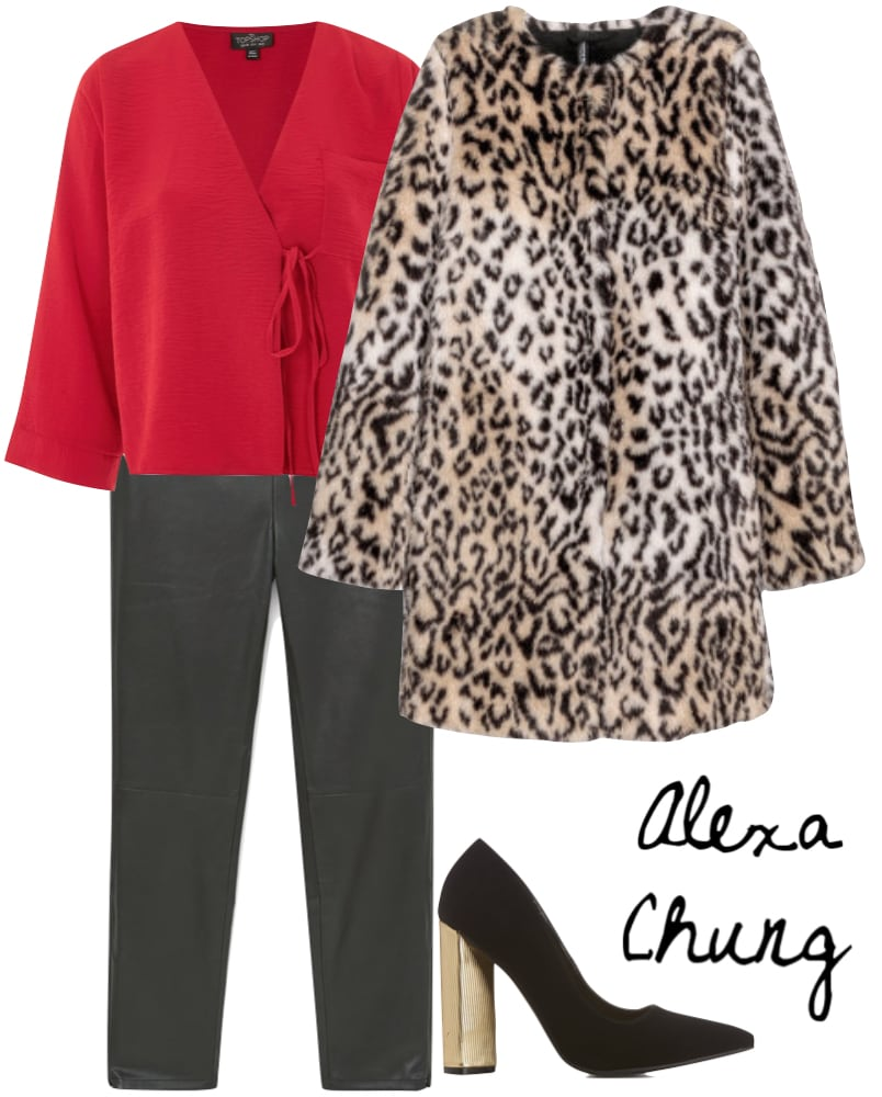 Alexa Chung Outfit: red v-neck blouse, faux leather pants, leopard print faux fur coat, black pointy-toe pumps