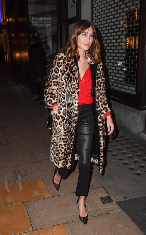 Alexa Chung wearing a red blouse, black leather pants, a leopard print faux leather jacket, and black pointy-toe pumps
