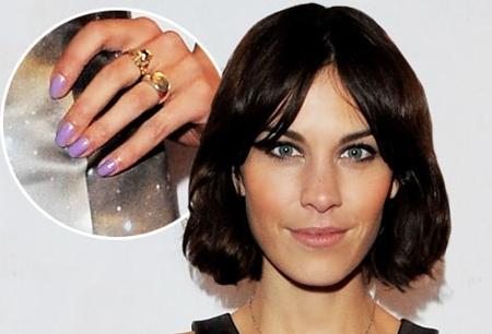 Alexa Chung purple nails