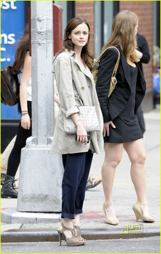 Alexis Bledel in a classic trench coat