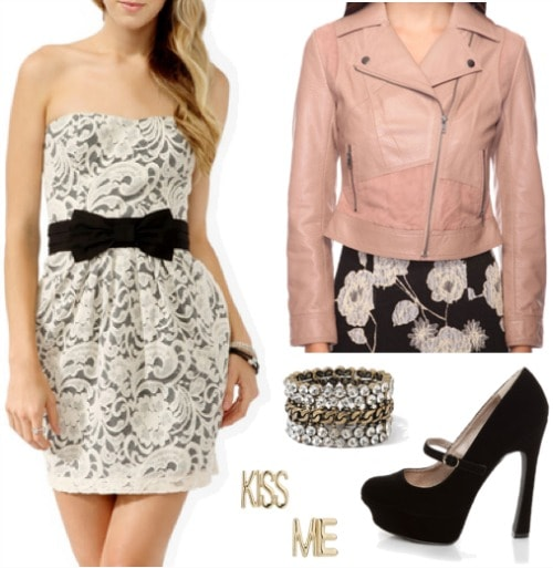 Fashion inspired by Alison from Pretty Little Liars - strapless lace dress, moto jacket, mary jane pumps, sweet earrings