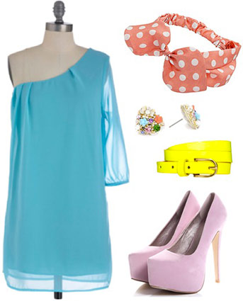 Outfit inspired by the Mad Tea Party from Alice in Wonderland: Neon blue off-shoulder dress, lavender heels, neon yellow belt, polka dot headband, earrings