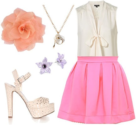 Outfit inspired by the Mad Tea Party from Alice in Wonderland: Hot pink skirt, bow blouse, platform heels, flower accessories
