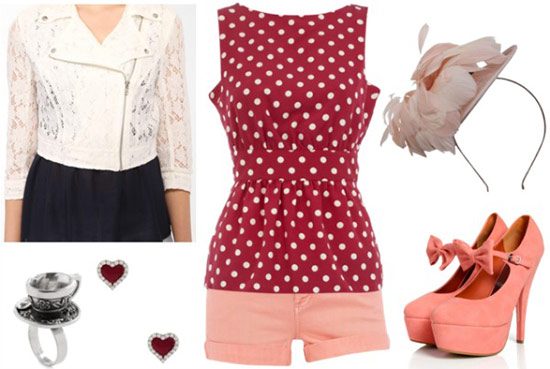 Outfit inspired by the Mad Tea Party from Alice in Wonderland: Red and white polka dot tank, light coral shorts, bow heels, lace jacket, fascinator