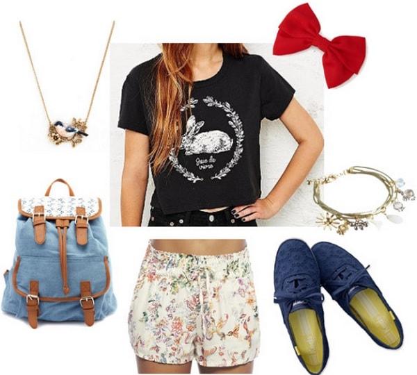 Alice-Wonderland-For-Children-Floral-Shorts