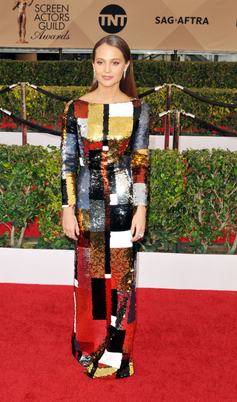Alicia Vikander in Louis Vuitton at the 2016 SAG Awards