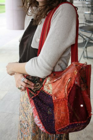 Boho bag - student street fashion at UT Austin