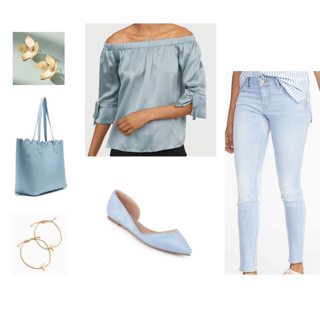 light blue silk top light blue jeans light blue flats light blue tote bag gold earrings gold bangles all light blue outfit monochrome outfit