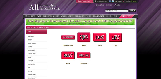 All Cosmetics Wholesale screenshot