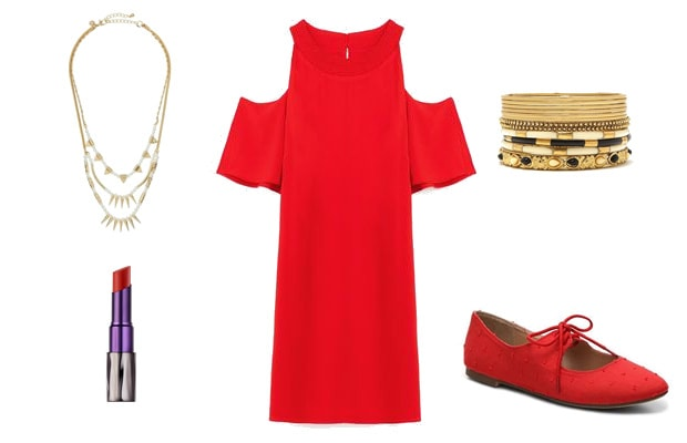 Red monochrome dress outfit