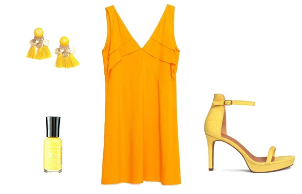 Yellow monochrome dress outfit