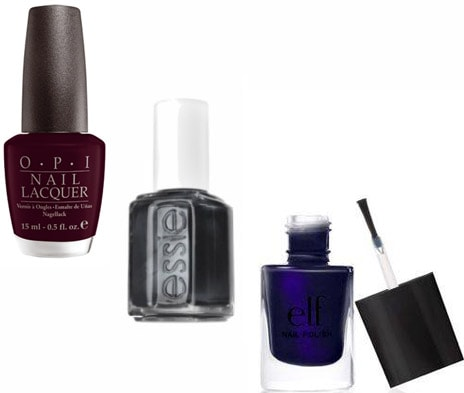 Almost black nail polish: OPI, Essie, and ELF