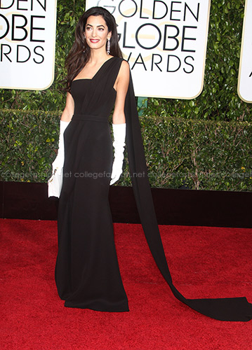 Amal Alamuddin Clooney 2015 Golden Globes in Christian Dior Haute Couture