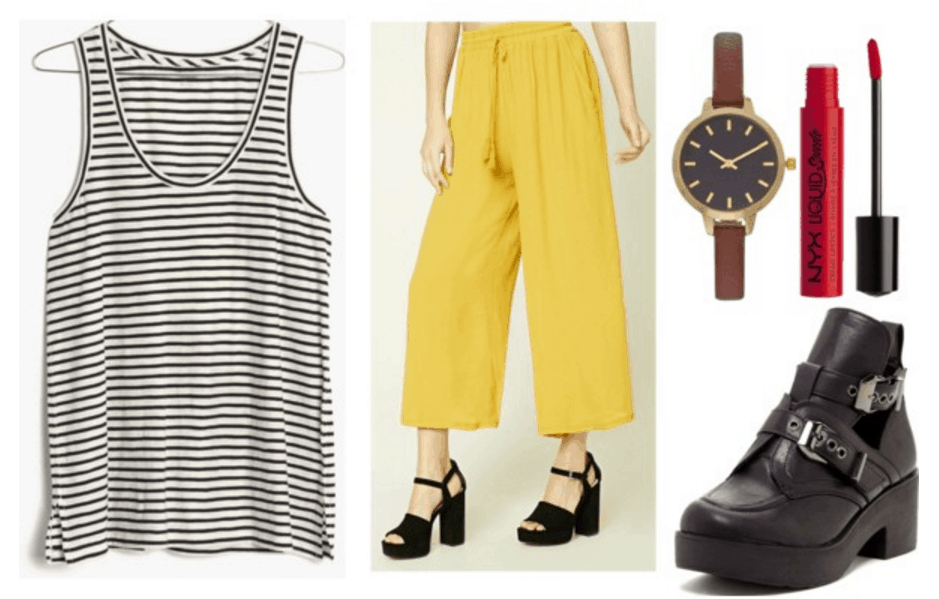 Striped top, yellow culottes, black boots.
