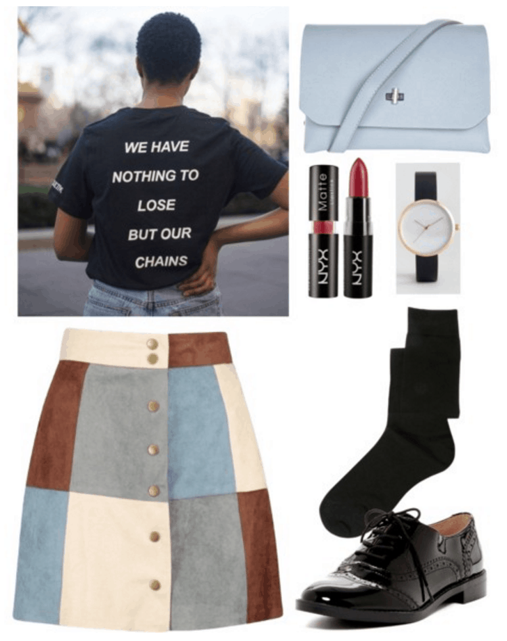 Graphic tee, suede skirt, oxfords.