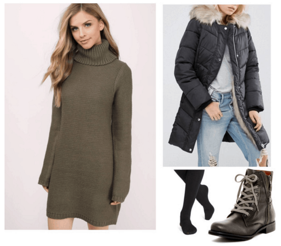 Sweater dress, parka, combat boots.