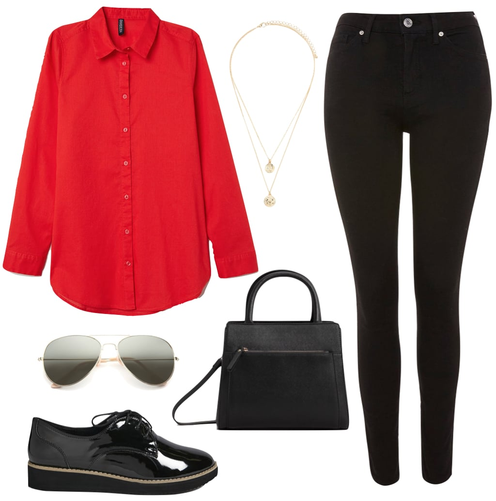 Amber Heard Outfit: red button-down shirt, layered gold necklaces, black skinny jeans, black long strap bag, aviator sunglasses, and black oxford shoes