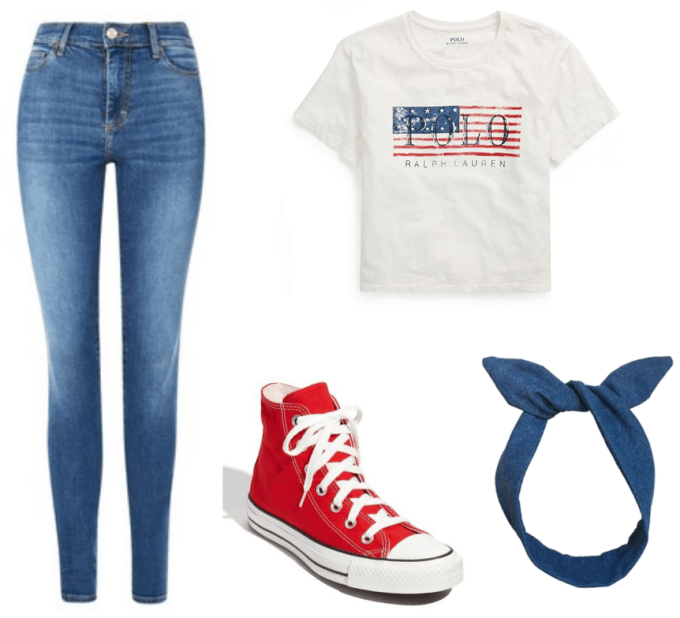 Party outfit for an America theme party: Blue jeans, Polo Ralph Lauren USA tee shirt, red Converse sneakers, blue headband