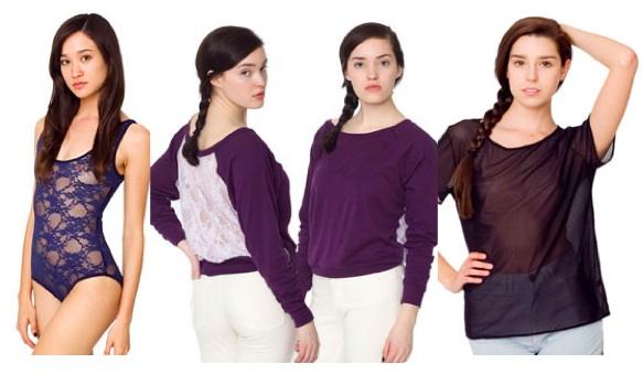 Sheer clothing at American Apparel
