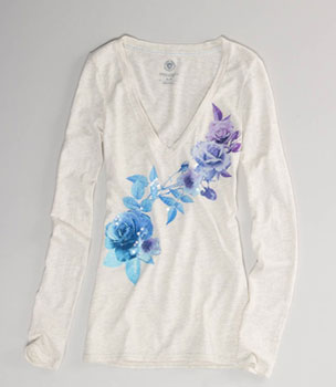 American Eagle sequin flower shirt