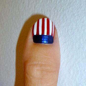 American flag nail art step 3: Red stripes