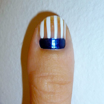 American flag nail art step 2: White stripes
