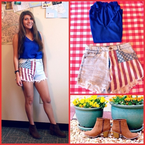 American flag shorts bright blue tank tan booties 4th of july outfit