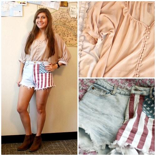 American flag shorts tan boots cream blouse