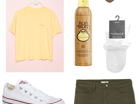 Amusement park outfit for spring: yellow top, aviator glasses, sunscreen, white ruffled socks, white converse and army green shorts