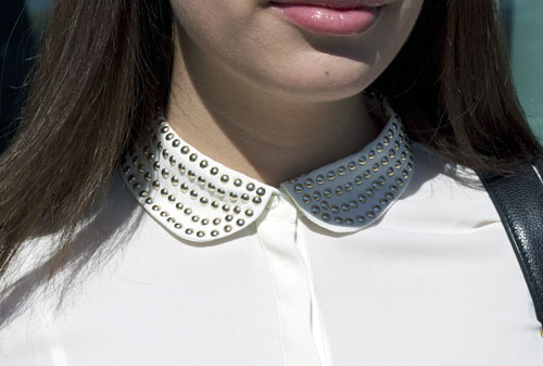 studded collar blouse UNLV campus style
