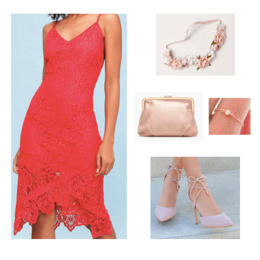 analogous colors red and pink outfit red lace slip dress pink flower crown pink frame bag gold delicate ring blush pink lace up heels outfit