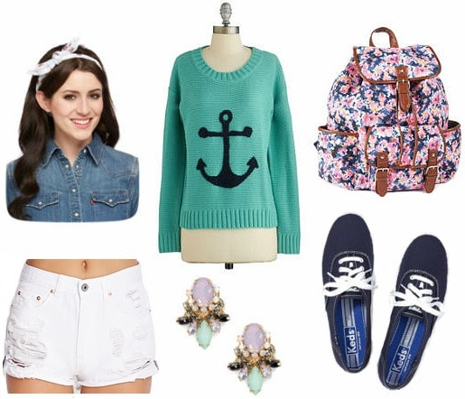 Anchor sweater and white cutoff shorts