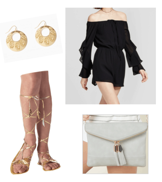 How to repurpose a costume: Ancient Roman gladiator costume sandals are worn with a black off-the-shoulder romper, suede clutch, and gold disc earrings for a night out outfit