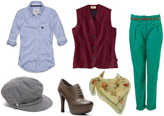 Andre 3000 Outfit - Blue button-down, green pants, hat, scarf, red vest